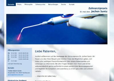 Webauftritt der Zahnarztpraxis Suntz