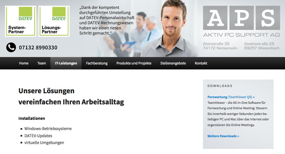 Web-Relaunch für die APS AG